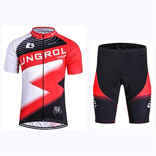 Conjunto De Ropa De Ciclismo para Hombre Conjunto De Jersey De Bicicleta Top De Verano + Culotte con Tirantes Acolchado, Almohadilla De Asiento De Gel 9D (Red-B,3XL)