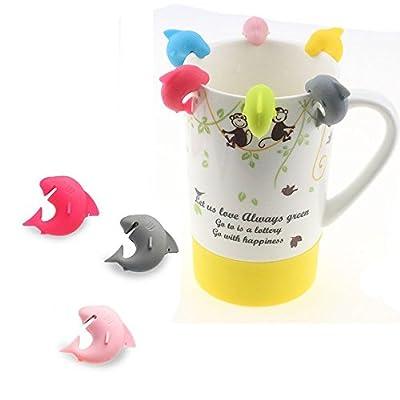 MAXGOODS Shark Shape Silicone Tea Bag Holder Cup Mug Candy Colors 6PCS