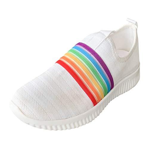 HWTOP Sportschuhe Damen Casual Rainbow Fliegende Turnschuhe aus Gewebtem Netz Mesh Laufschuhe Slip On Socken Schuhe Atmungsaktive Sport Sneakers, Weiß, 40 EU