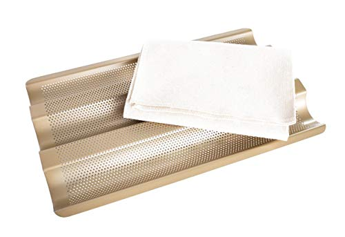 Vanilla Brick Perforated Baguette Pan + Proofing Cloth Bread Pans For Baking Sourdough French Bread Loaf 3 Wave Nonstick Baking Pan + Pastry Dough Couche Bread Making Bread Cloth For Homemade Bread