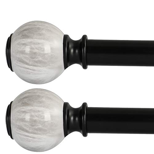 Oneach 2 Pack 72''-144'' Adjustable Curtain Rod 1'' Black Extendable Metal Single Window Rod for Curatins with Decorative White Imitation Marble Resin Twisting Finials Drapery Treatment Window Rods