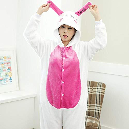 MA Pijama Love Rabbit Kigurumi Onesies Unisex Pijama para Adultos Disfraces de Cosplay Mono Animal para Hombre-Conejo_SG