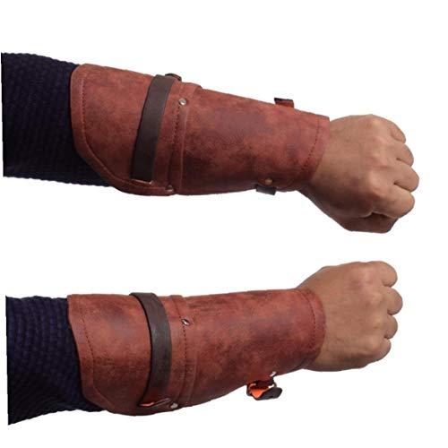 Männer Mittelalterliche Armschienen Armbinden Weinlese Steampunk Gauntlet Puleather Weit Rüstung Armschienen glühend er Armschützer Mittelalterliches Kreuz Armschienen, Für Innen Und Außen
