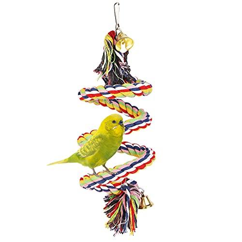 Vegena Parrot Climbing Rope Sling con campana, columpio, juguete de columpio, jaula de pájaros, accesorios para periquitos, loros grises, cacatúas
