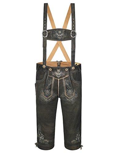 Almbock Wildbock Lederhose Herren - Trachten Lederhose Kniebund braun mit bestickten Hosenträgern - Lederhose urig - Trachtenhose antik - Lederhose 48