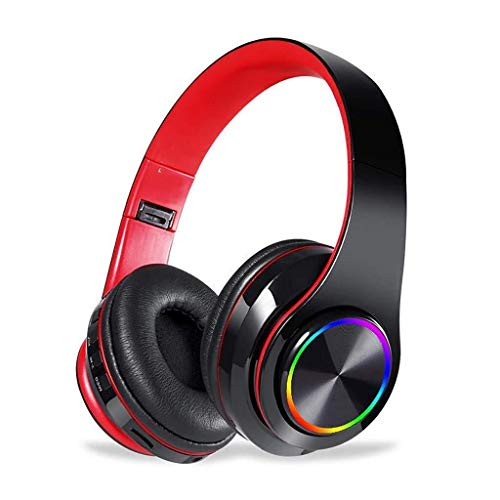 MGWA headphones Game Wireless Headset Bluetooth Headphones, Over Ear Stereo Headset V5.0 With Microphone, Foldable & Lightweight, Support Tf Card MP3 12 Hours Playtime (Color : Black Red)