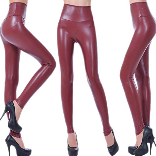 High Waist Faux Leather Leggings Women Sexy Black Faux Leather Leggings Shiny Pants Plus Size Trousers