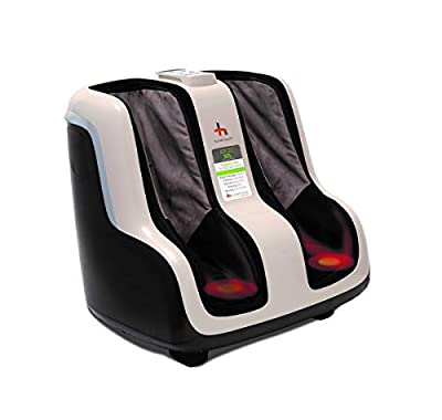 Human Touch Reflex SOL Foot and Calf Relaxation Shiatsu Massager with Heat and Vibration- Patented Technology - Extended Height, Adjustable Tilt Base with Under Foot Massage Rollers, Black and White