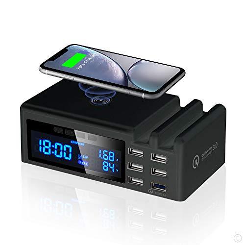 JCOTTON Multi USB Ladestation, Ladegerät Mehrere Geräte mit LCD Bildschirm Wireless Schnell Charger 48W Induktives Ladegerät 6 Port mit QC3.0 USB Charging Station für iPhone Samung Handy und Tablet
