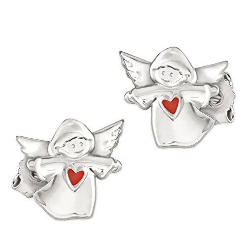 Clever Schmuck Silberne kleine Ohrstecker Kinderengel 7 mm glänzend poliert mit Herz rot lackiert und glänzend STERLING SILBER 925 für Kinder