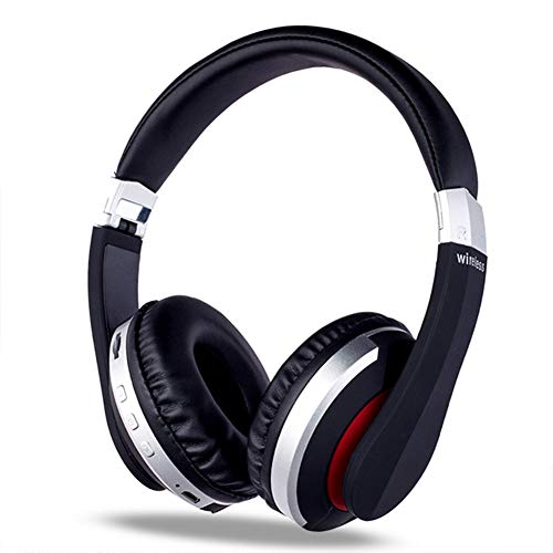 SWETIY Auriculares Bluetooth Inalambricos De Diadema Cascos Plegables, Casco Bluetooth con Sonido Estéreo Micro SD/TF, con Micrófono Y Audio Cable para Movil/PC/Tablet,Plata