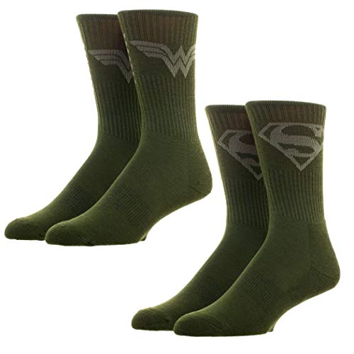 Superman and Wonder Woman Salute to Service Crew Calcetines 2 pares