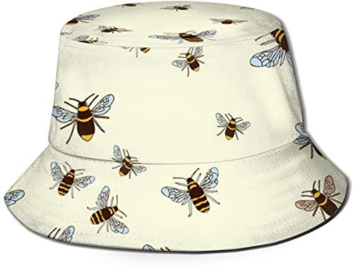 Unisex Sonnenhut für den Sommer, atmungsaktiv, für den Außenbereich, UV-Schutz, Bigfoot Crossing Signs-Bienen auf Creme