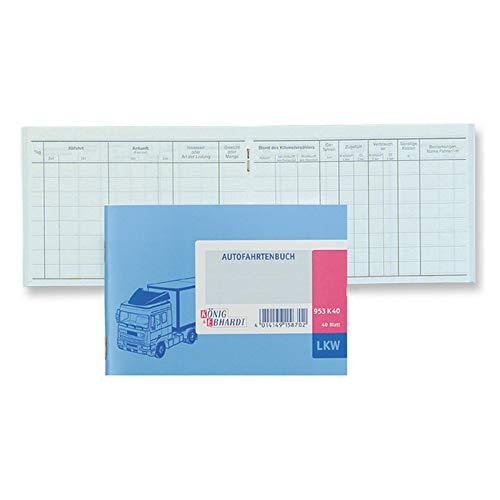 König & Ebhardt 8610142 Geschäftsbuch / Fahrtenbuch für LKW (A6 quer, Karton-Einband, 40 Blatt) hellblau
