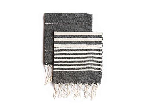 Ahenque Set of 2, Eco-Friendly Turkish Tea Towel, Dishclothes, Peshkir, Dish Towel, Kitchen Towel, Hand Towel, Size: 18? x 40? (Black)