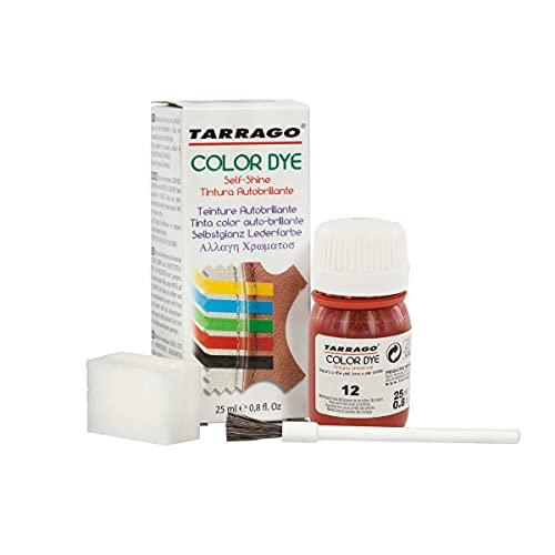 Tarrago   Self Shine Color Dye 25 ml   Tinte Para Cuero y Lona de Acabado Brillante Para Teñir Zapatos y Accesorios   Tintura de Secado Rápido Para Reparar el Calzado   Anti Rozaduras (Rojo 12)