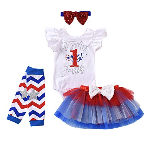 Baby Girl My 1st 4th of July Outfits Ruffles Sleeve Romper + Tutu Skirt + Headbands + Warm Leggings 4PCS Clothes Set (3-6 Months, My 1st 4th of July)