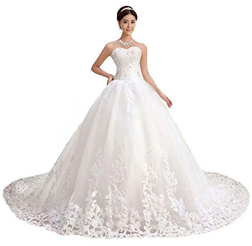 QueenBridal Gorgeous Sweetheart Lace Chapel Train Ball Gown Wedding Dress for Bride (24W,Ivory)