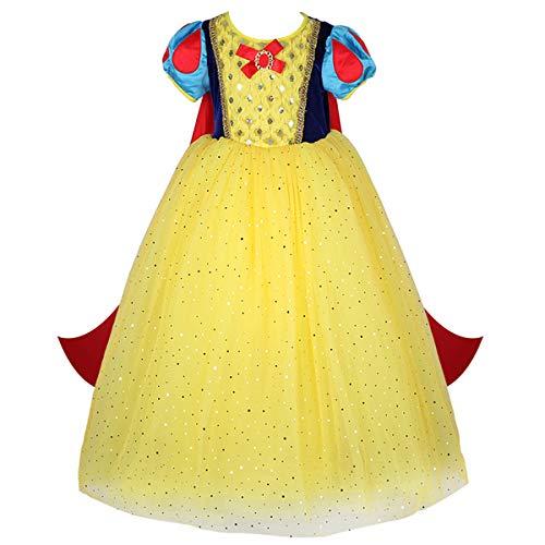 FMYFWY Nias Vestidos de Blancanieves con Capa Disfraz de Carnaval Princesa Cumpleaos Traje de Halloween Navidad Fiesta de Cosplay Ceremonia Aniversario Bautizo Comunin Boda 9-10