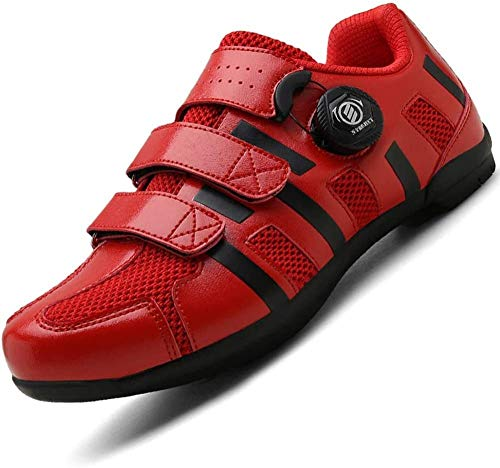 JINFAN Road Cycling Shoes Bike Shoes Men Women,Cleats MTB Cycle Shoes Racing Breathable Ultralight Professional Bicycle Sneakers,Red-45EU
