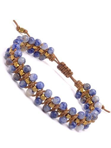BENAVA Pulsera de piedras preciosas para mujer de sodalita y perlas de cobre | Pulsera de yoga ajustable con correa de cuero | Joya bohemia étnica azul oro 16-24 cm