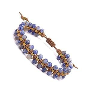 BENAVA Pulsera de piedras preciosas para mujer de sodalita y perlas de cobre | Pulsera de yoga ajustable con correa de… | DeHippies.com