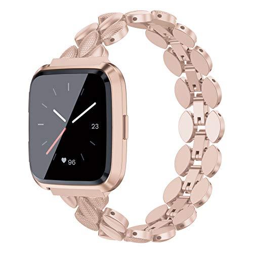 Ownaco Kompatibel für Fitbit Versa 2 Armband,Metallarmband Rose Armband Damen Herren Ersatzarmband für Versa 2 Smartwatch