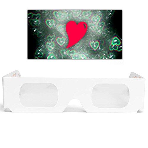 GloFX - Juego de 5 vasos de papel con efecto de corazón 3D Holographic Fireworks Kids Bulk Cartón Rave EDM Party anteojos de sol