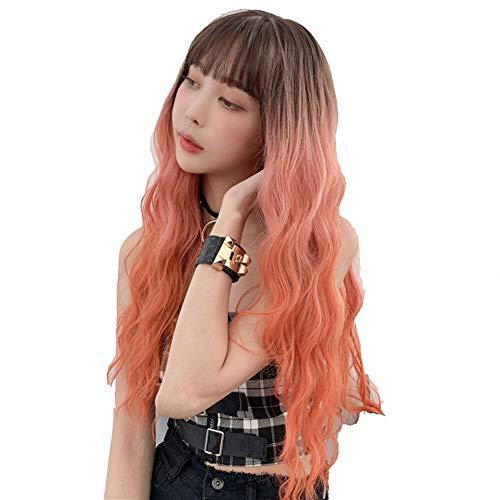 JIANGNANCHUN Japan en Zuid-Korea nieuwe drie kleuren gradiënt lang krullend haar grote golf chemische vezel simulatie haar mode vrouwen Qi Liuhai hele haar sets Melk thee gradiënt 68CM