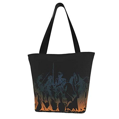 Hagerloo Bolso de mano de lona para mujer de Final Fantasy, bolso de cubo personalizado de Anime, bolso de hombro de moda diario esencial, bolso espacioso y espacioso
