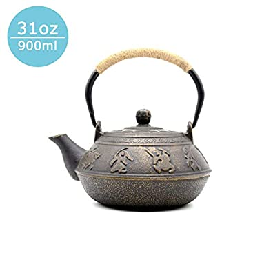 JUEQI Japanese Cast Iron Teapot Kettle with Stainless Steel Infuser/Strainer, Warring States 27 Ounce (800 ml)