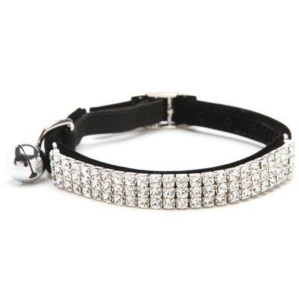 Hukchi weiches verstellbares Samt-Halsband mit Strasssteinchen und Glocken, 27,9cm, für kleine Hunde und Katzen