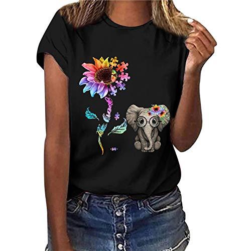 Camiseta de manga corta para mujer, diseño de girasol, estilo informal, básico, cuello redondo, para adolescentes, niñas, camisa, túnica, fitness, sudadera (negro, XXL)
