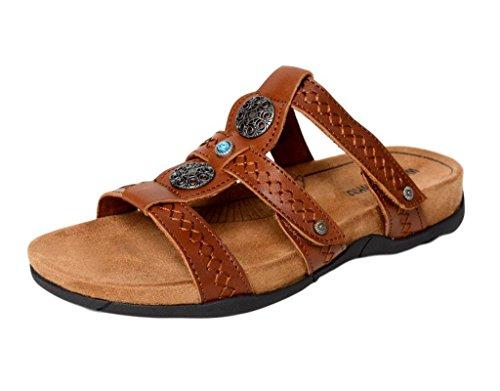 Minnetonka Womens Baker Slide Sandal, Cognac Leather, Size 6