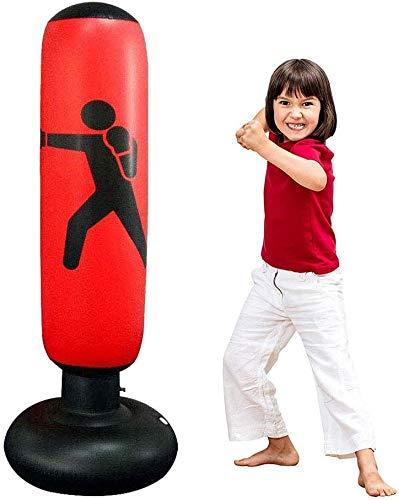 JanTeelGO Boxsack Kinder 160cm, Standboxsack für Sofortiges Zurückprallen zum Üben von Karate, Taekwondo und zur Entlastung von Pent Up Energy bei Kinder (Rot)