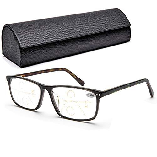Gleitsichtbrille Blaulicht Blockierende Lesebrille + 1.5, Progressive Multifokus-Smart-Brille Anti-UV Mit Elegantem Memory-Titanrahmen-Rechteck-Federscharnier Für Frauen Migräne-Anti-Kopf Für Frauen