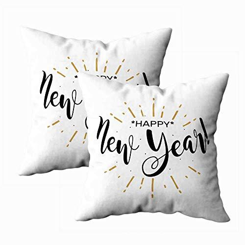 Juego de 2 fundas de almohada para exteriores, 45,7 x 45,7 cm, con texto en inglés 'Happy New Year' (texto en inglés)