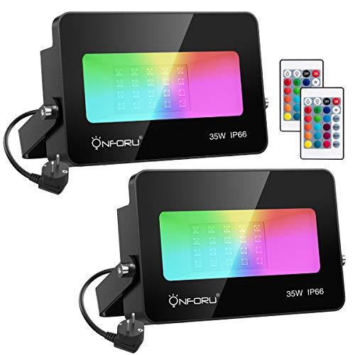 Onforu 2er 35W RGB LED Strahler, Dimmbar Farbig Fluter mit Fernbedienung, IP66 Wasserdicht Außen Farbwechsel Flutlicht mit 16 Farben 4 Modi, Flutlichtstrahler Memoryfunktion für Garten, Party Deko