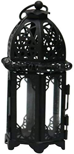 Centeraly Kerzenständer Marokkanischer Stil Schmiedeeisen Glas Kerzenhalter Innen Einfache Installation Laterne Lampe Heim Kerze Tischlampe - Schwarz, type1