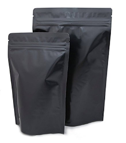 Assorted Sizes Matte Black Stand Up Airtight Zipper Pouches Smell Leak Proof Food Herb Coffee Protein Powder Storage Bags (10, 5 Small + 5 Medium)