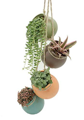 AMAZING1 Ceramic Hanging Mini Flower Planters, Wall or Ceiling Mount - Dangling Container in Earth Tone Colored for Indoor Outdoor Decor - One Set of 4