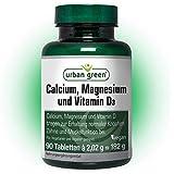 urban green Calcium, Magnesium und Vitamin D3 'EINFÜHRUNGSPREIS' – vegan, laktosefrei und glutenfrei - 90 Tabletten