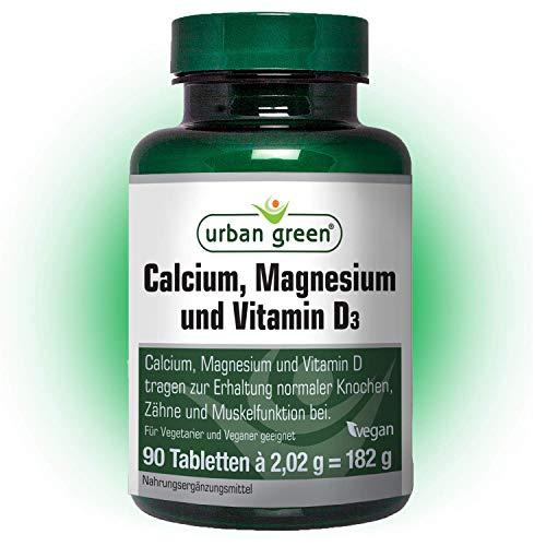 urban green Calcium, Magnesium und Vitamin D3 \'EINFÜHRUNGSPREIS\' – vegan, laktosefrei und glutenfrei - 90 Tabletten