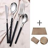 Set de Cubiertos de Mesa 24 Piezas, Juego de Cubiertos de Acero Inoxidable 304 Cuchillo Tenedor Cuchara para Restaurante Temático/Cenas/Viajes, Apto para Lavavajillas