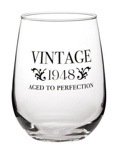 Vintage–Aged To Perfection–Wahl der 1948, 1958, 1968, 1978, 1988–Fun ohne Stiel Wein Glas–groß oz (1Glas) 1948
