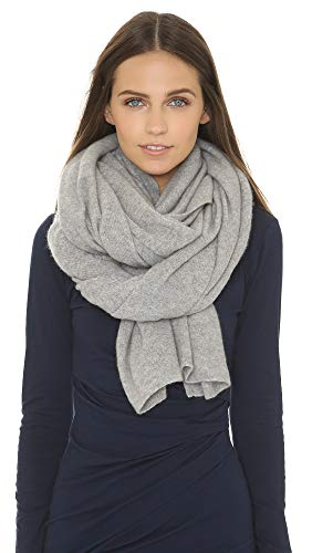 White + Warren Women's Cashmere Travel Wrap Scarf, Grey Heather, One Size