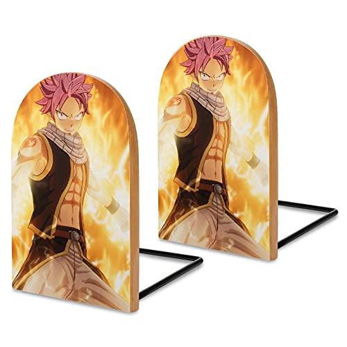 Serre-livres en bois Sapelli pour affiches de dessins animés de Fairy Tail Manga pour bureau, serre-livres antidérapants pour livres, films, DVD, support de livre 13 x 8,1 x 4,1 cm