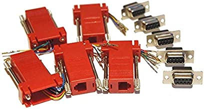 Pack of 5 Red D-sub 9 Pin DB9 Female to RJ12 6p6c Female Modular Connector Jack Serial Adapters