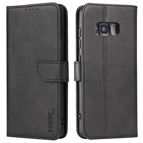 LOLFZ Funda para Samsung Galaxy S8 Plus, funda para Samsung S8 Plus, funda de piel prémium con ranuras para tarjetas, cierre magnético, color negro