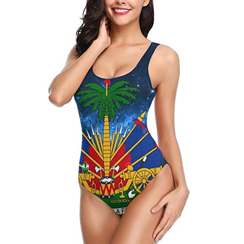 Women's Athletic One Piece Swimsuits Backless Swimwear Starry Haitian Bathing Suits White